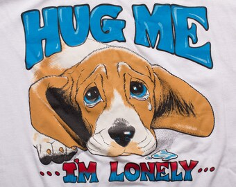 Hug Me I'm Lonely Dog T-shirt, M, Pet Rescue Shelter, Vintage 1980s, Lake George, Sad Puppy Graphic Tee, 50/50, Doggy Lover