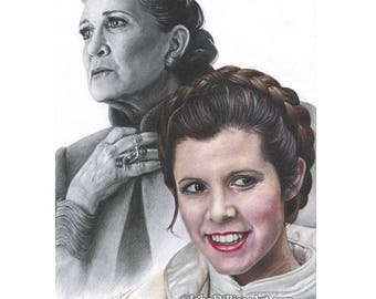 Drawing Print of Colored Pencil Drawing of Carrie Fisher as Princess Leia in Star Wars (8.5 x 11)