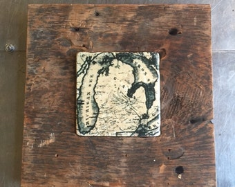 Reclaimed Detroit Wood frame with Michigan tile