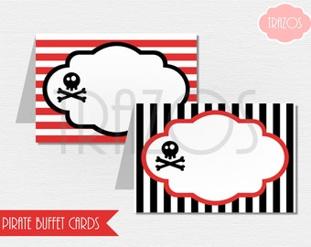 Pirate Birthday PRINTABLE Buffet Cards (INSTANT DOWNLOAD)