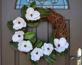 SALE!!!! Artificial Floral Wreath, Spring Wreath, Door Wreath, Wedding Wreath, Magnolia Wreath, Decor Wreath, Front Door Wreath