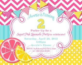 PINK LEMONADE party invitation - YOU Print - Original Treasury featured