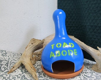 Toad Abode/Toad Shelter/Toad Dwelling/Toad House/ Bright Blue Hand Crafted Gourd/Garden Decoration/