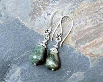Green Stone Earrings, Seaweed Jasper Earrings, Light Green Earrings, Sage Green Earrings, Handmade Earrings, Natural Stone Earrings, Summer