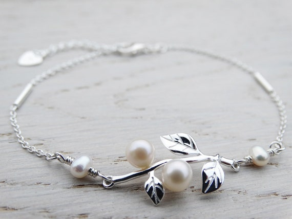 Pearl & Silver Bracelet - Tiny Leaves - Sterling Silver