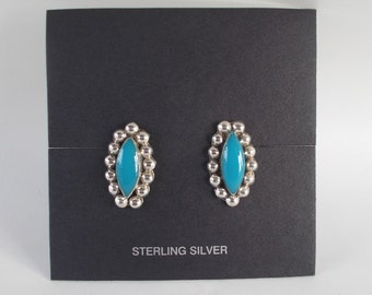 Turquoise and Sterling Silver .925 Marquis Earrings