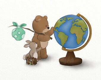 8 x 10 Childrens Art Teddy Bear Nursery Print, Artwork for Boys or Girls Room Wall Decor (279)