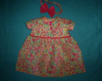 Preemie Baby Girl Dress and head band Approx. 2 - 4 lbs.