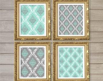 Damask Pattern Printable Wall Art Grey Turquoise Blue Set of4 -8x10- Vintage Geometric Instant Download Digital Print Living Room Home Decor