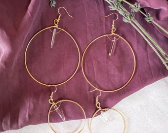 balancer hoops, hoop earrings, brass wire, hoop earrings, crystal earrings, handmade jewelry, handmade earrings, big hoops, crystal