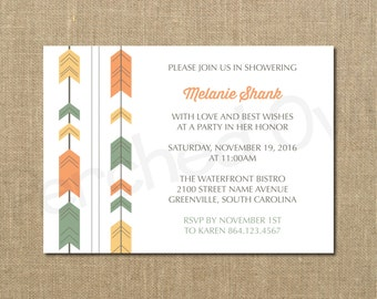 Wedding Shower Invitation - Bridal Shower - Fall - Harvest - Autumn - Seasonal - Arrow Garland - Digital File