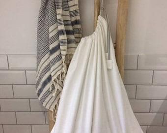 White Cotton Drawstring Laundry Bag -  Large Cotton Storage Bag