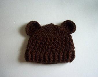 Crochet Baby Boy Hat, Baby Bear Hat, Crochet Hat With Ears, Newborn Bear Hat,