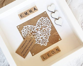 Personalised Engagement Frame ~ Vintage Style ~ Scrabble box frame ~ Gifts for her ~ Gifts for Couples ~ Anniversary Gift ~ Wedding Gift