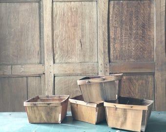 Vintage Berry Baskets, Set Of Four Fruit Baskets, Fruit Crate, Rustic Kitchen Storage Decor