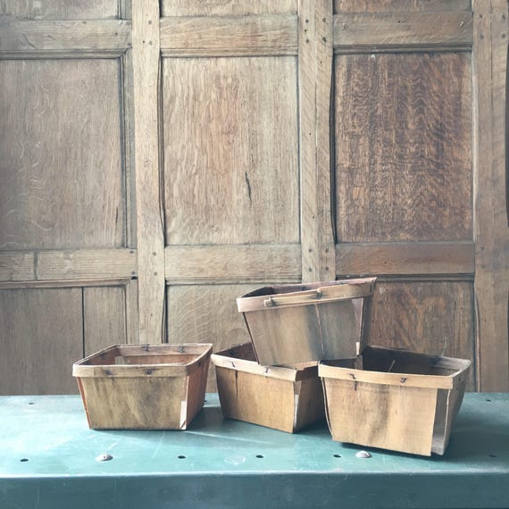 Vintage Berry Baskets, Set Of Four Fruit Baskets, Fruit Crate, Rustic Kitchen Storage Decor