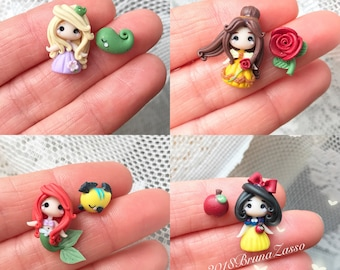 Disney Princesses Stud Earrings Rapunzel Snow White Ariel Belle Tiny Chibi Cute Polymer Clay Kawaii Princess Handmade Gift Pin
