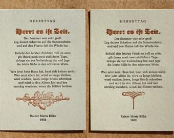 Zwei Postkarten »Herbsttag« (Rilke), Buchdruck, Bleisatz auf Graupappe