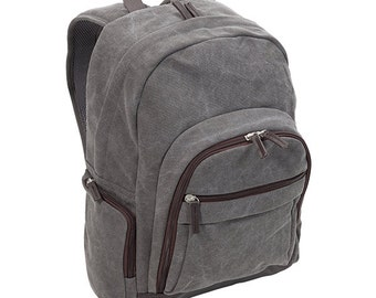 Personalized Brushed Grey Canvas Backpack - Great for High School or College