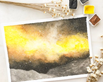 A warm yellow galaxy and rocky mountains in 5 in. x 7 in.
