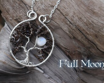 Full Moon Tree of Life Pendant // Smoky Quartz Rainbow Moonstone Tree Necklace Silver Tree of Life