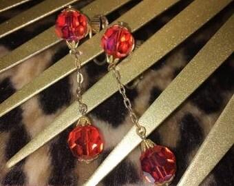 Vintage Dangle Orange Crystal Clip Earrings