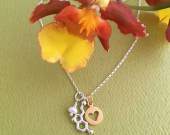 for Mom - tiny serotonin heart pearl charm necklace in sterling silver and gold plate