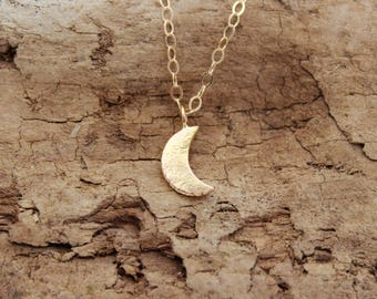 14k Gold Moon Necklace. Solid Gold Moon Necklace. 14k Gold Crescent Moon Necklace Moon Pendant Necklace. Solid Gold Crescent
