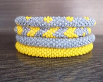 Sunny Yellow and Grey Crocheted Beaded Bracelet Set, Handmade in Nepal, Seed Beads, Bohemian