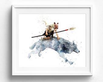 Princess Mononoke, Ghibli Print, Mononoke Art, Watercolor Art, Gift Idea, Hayao Miyazaki Art, Mononoke Hime Gift, Mothers Day, Kids wall art