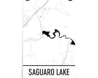 Saguaro Lake Arizona, Saguaro Lake AZ, Saguaro Lake Map Art, Arizona Map, Lake Map, Arizona Lake Art, Arizona Art, Saguaro Lakes, Lake Home