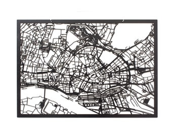 3d city map HAMBURG, 59x42cm (73x53cm)