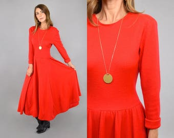 80's Red Knit Sweater Dress