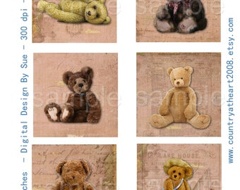 2 Sheets of 3 inch Teddy Bears and Vintage Toys  -  Printable Digital Collage Sheet - Digital Download