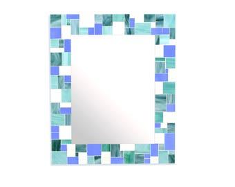 Mosaic Tile Mirror for Blue Home Décor Scheme – 4 Rectangle Mirror Sizes Available