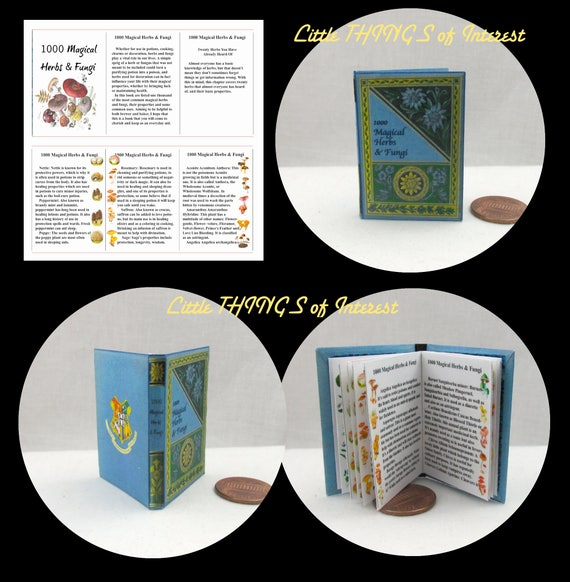 1000 MAGICAL HERBS and FUNGI Textbook 1:6 Scale Illustrated Readable Book Magic Wizard Witch Fortune Teller Gypsy Potter Popular Boy Wizard