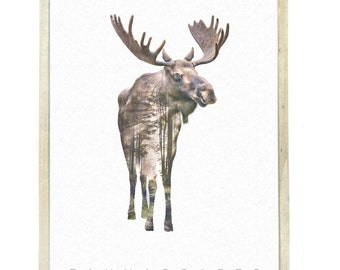 Moose Animal Double Exposure Art Print - Faunascapes by WhatWeDo