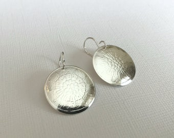 Earrings, Sterling Silver Disk Earrings, .87 Inch Embossed Sterling Silver Disk Earrings