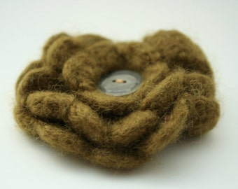Pure Wool Corsage - Olive Flower Brooch