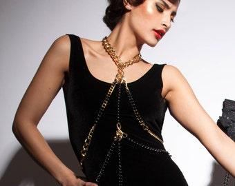 Gold Body Chain - Harness Body Chain - Chain Bralette - Body Necklace Chain - Festival  - Bondage - Stripper - Pole Dance - Sexy Cosplay