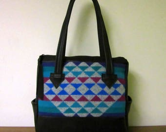 Large Hand Bag Handbag Purse Shoulder Bag Soft Black Leather 9 Pockets Blanket Wool from Pendleton Oregon