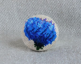 Embroidered ring with blue flower, best gift for garden lover, round floral ring with cross stitch
