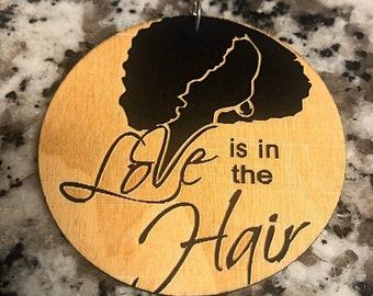 Love Hair Natural Wood Earrings