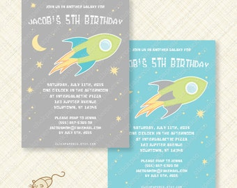 Outer Space Printable Party Birthday Invitation Card digital download pdf jpeg custom invite rocket ship galaxy intergalactic stars moon diy