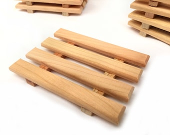 8 cherry wood soap dishes - 1.25 each - natural North American Cherry hardwood soap dishes - quantity of 8