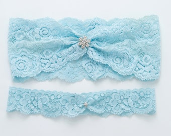 Blue lace garter set, wedding garter set, bridal lace garter, bridal shower gift, something blue garter set, garter set for wedding