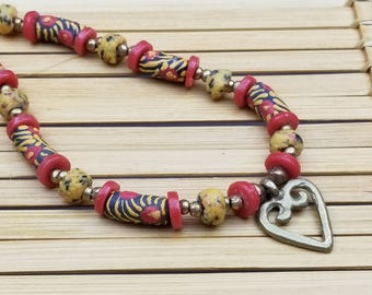 African Adinkra Heart Pendant Necklace, African Jewelry, African Necklace, Ethnic, Tribal, Afrocentric, Recycled Jewelry