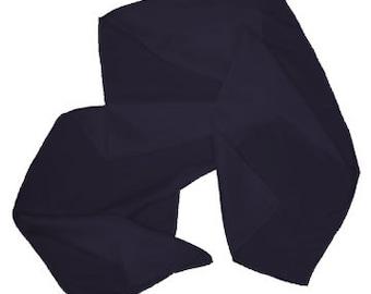 "Black 100% Habotai Silk Scarf - 8""x 54"" - Dyed"