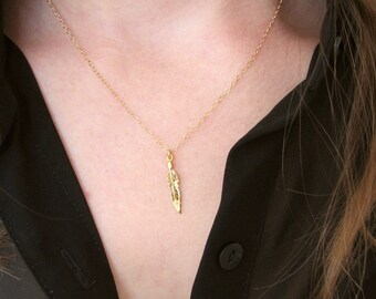 Shiny Feather Necklace, Gold Vermeil, Gold Feather, Tiny Feather Necklace, Native Necklace, Minimalist Necklace, 14K Gold Filled Chain