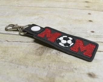 Red Soccer Mom Keychain, Sports Mom Key Fob, Soccer Mom Bag Tags, Mom Keyring, Soccerball Mom Key Chain